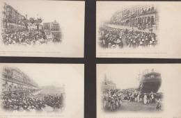 Lot 4 CPA:Alger:Retour De Chine Régiment Zouaves 1901:Débarquement/Drapeau/Défilé/Mairie - Alger