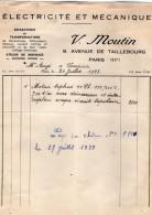 VP4150 - Facture - Electricité & Mécanique V. MOUTIN à PARIS Avenue De Taillebourg - Electricity & Gas