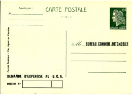 Entier Postal Carte Postale Repiquage Bureau Commun Automobile Mod 86 B - Entiers Postaux