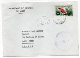 NIGER-1972-Lettre De NIAMEY Pour PARIS--France--timbre Oiseau Seul Sur Lettre-personnalisée Ambassade De France - Niger (1960-...)