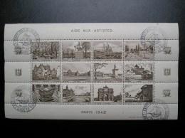 Feuillet  Aide Aux Artistes  Paris 1942  Neuf, Gomme Intacte - Tourism (Labels)