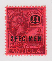 Antigua 1922 SG#61s 1L Aufdruck Specimen In Schwarz - 1858-1960 Colonie Britannique