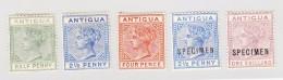 Antigua 5 Werte *  SG#21, 27, 28 Und 27s, 28s - 1858-1960 Colonie Britannique