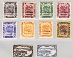Brunei 1924 Lot Von 10 Marken *  (9 Mit Aufdruck Specimen + 1 Perforierte) - Brunei (...-1984)