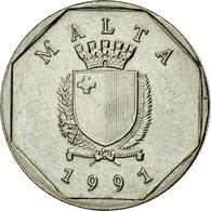 Monnaie, Malte, 5 Cents, 1991, TTB, Copper-nickel, KM:95 - Malta