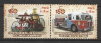 Peru (2010) Yv. 1883/84  /  Firefighter - Bomberos - Pompiers - Transportation - Trucks - Bombero