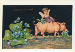 """ENFANTS - ANGES - PIG - Jolie Carte Fantaisie Gaufrée Angelot Trèfle Cochon De """"Bonne Année"""" (embossed Postcard) - Nouvel An"""