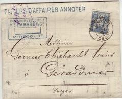 VOSGES - Mirecourt - Comptoir D´Escompte à Gerardmer -CAD-TypeA2- 1898 - Marcofilia (sobres)