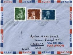 LIECHTENSTEIN LETTRE PAR AVION DEPART VADUZ 25 VIII 54 POUR LE LAOS - Liechtenstein
