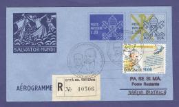 VATICAN VATICANO 1998 AEROGRAMME REGISTERED POPE JOHN PAUL II Travel To MARIJA BISTRICA (CROATIA) (8021 - Vatican