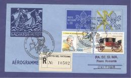 VATICAN VATICANO 1998 AEROGRAMME REGISTERED POPE JOHN PAUL II Travel To ONITSHA (NIGERIA) (8020 - Vatican