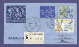 VATICAN VATICANO 1998 AEROGRAMME REGISTERED POPE JOHN PAUL II Travel To VIENNA (AUSTRIA) (8018 - Vatican