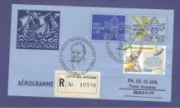 VATICAN VATICANO 1999 AEROGRAMME REGISTERED POPE JOHN PAUL II Travel To BUCAREST (ROMANIA) (8024 - Vatican