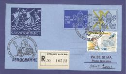 VATICAN VATICANO 1999 AEROGRAMME REGISTERED POPE JOHN PAUL II Travel To SAINT LOUIS (USA) (8023 - Vatican