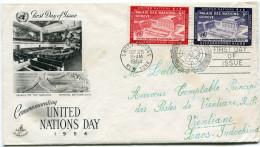 NATIONS UNIES LETTRE DEPART NEW YORK OCT 25  1954 POUR LE LAOS - ONU