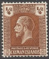 Cayman Islands. 1921-26 KGV. ¼d MH. Mult Script CA W/M SG 69 - Cayman Islands