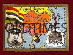 CHINA - MAP-FLAG-ARMS - CHIANG KAI SHEK - SOCIEDADE INDUSTRIAL TABACOS DE ANGOLA - OLD ADV CARD - Advertising