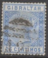 Gibraltar. 1889-96 QV. Spanish Currency. 25c Used. SG26 - Gibraltar