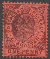 Gibraltar. 1904-1908 KEVII. 1d Used. Mult Crown CA W/M SG57 - Gibraltar