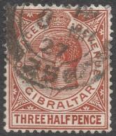 Gibraltar. 1921-27 KGV. 1½d Used. Mult Crown CA W/M SG91a - Gibraltar