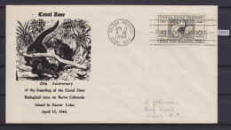 + CANAL ZONE 1948, FDC 17. APR. 1948, BIOLOGICAL AREA ANNIVERSARY, BARRO COLORADO, See Scans - Zona Del Canale / Canal Zone