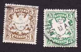 Bavaria, Scott #60, 62, Used, Coat Of Arms, Issued 1888 - Bavaria