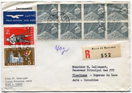 SUISSE LETTRE RECOMMANDEE PAR AVION DEPART BERN 29-III-55 POUR LE LAOS - Suisse