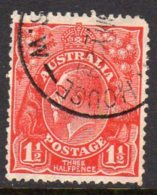 Australia 1926-30 1½d Red George V Head, Wmk. Multiple Crown Over A, Used (SG 97) - 1913-36 George V: Heads