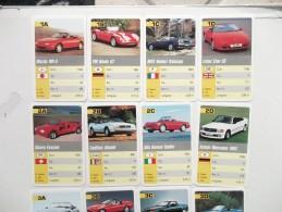 JEU DES FAMILLES 32 CARTES COMPLET AUTOMOBILES CABRIOLET LOTUS CADILLAC MERCEDES VOLVO JAGUAR TESTAROSSA PORSCHE .... - Jeux De Société