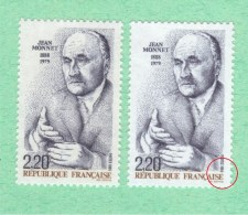 Varieté NEUF ** 2533 **  8 De 1988 En Brun + 1 Normal  Variétés Jean Monnet - Errors & Oddities