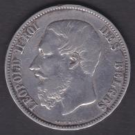 M196 BELGIUM BELGIE BELGIQUE 5fr LEOPOLD II 1873 ORIGINAL 100%. - 1865-1909: Leopold II