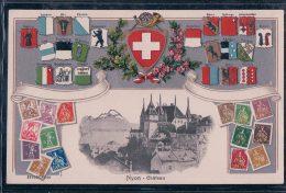 Nyon, Timbres Suisses Et Armoiries Des Cantons  Litho Gaufrée (16544) - VD Vaud