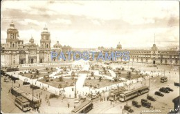 36408 MEXICO CITY EL ZOCALO VISTA DE LA PLAZA SQUARE & TRAMWAY TRANVIA POSTAL POSTCARD - México