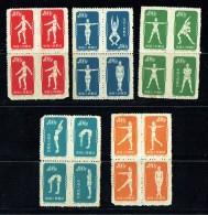 1952  Gymnastique  5 Blocs De 4, Papier Mince  Neufs - 1949 - ... République Populaire