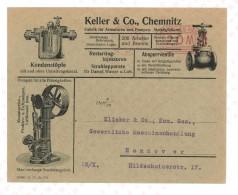 COVER CHEMNITZ TO HANNOVER KELLER & Co. - FABRIK FUR ARMATUREN UND PUMPEN METALLGIEßEREL 1932 - Macchine