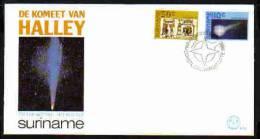 Surinam / Suriname 1986 FDC 102 Comet Of Halley Komet Comete - FDC & Commémoratifs