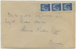 1948 DEMOCRATICA L. 5 STRISCIA DI 3 PURA BUSTA 18.2.48 TARIFFA LETTERA FERMO POSTA (L. 10+5) TIMBRI ARRIVO (A678) - 1946-60: Storia Postale