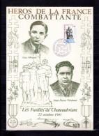 """FRANCE 1981 : Encart 1er Jour N°té En Soie Rare (738/2250) """" GUY MOQUET / TIMBAUD """" N° YT 2177 . Parf état. FDC - 2. Weltkrieg"""