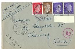 Lettre  De Troisdorf Du 31 Janvier 1944 Vers Clamecy ( Nièvre ) - Germany