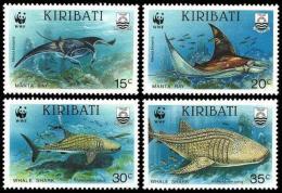 WWF Kiribati 1991 Fish Whale Shark Manta Ray MNH - W.W.F.