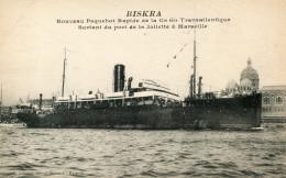 MARSEILLE(BOUCHES DU RHONE) BATEAU PAQUEBOT BISKRA - Vieux Port, Saint Victor, Le Panier