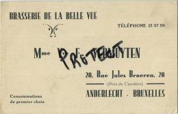 Anderlecht :  Brasserie De La Belle Vue  ( Carte Visite  12 X 8 Cm ) - Cartes De Visite
