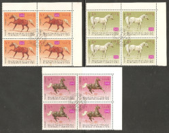 Yemen (Kingdom) 1967 Mi# 429-433 A Used - Complete Set In Blocks Of 4 - Arab Horses - Horses