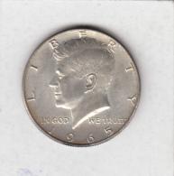 UNITED STATES AMERICA   1/2 DOLLAR  KENNEDY HALF DOLLAR 1965     SILVER COIN - Federal Issues