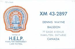 Fer à Cheval QSL From Golden Horseshoe Radio Club Dennis Wayne Balsdon Gage Ave Hamilton Canada (XM 43-2897) Year 1968 - CB
