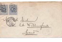 1873 Rotterdam Gent Pays Bas Par Anvers (st) - 1852-1890 (Guillaume III)