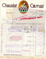 38- GRENOBLE- DEPOT LIMOGES-AVENUE BERTHELOT-   FACTURE CHOCOLAT CEMOI - 1941 - France