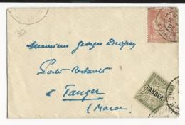 MAROC - 1918 - ENVELOPPE Avec MOUCHON AYANT DEJA SERVI En 1903 ! Pour TANGER POSTE RESTANTE Avec RARE TAXE - Morocco (1891-1956)
