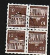 Deutschland 1967 Brandenburger Tor Zusammendruck Michel K7 K 7 X2 Gestempelt 506 V, Kehrdruckviererblock - Zusammendrucke