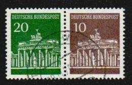 Deutschland 1967 Brandenburger Tor Zusammendruck Michel W24 W 24 20Pf/10Pf Gestempelt 507 V/506 V, Kehrdruck - [7] République Fédérale